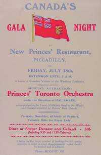 New Princes' Restaurant, July 18, 1924. Trade card.